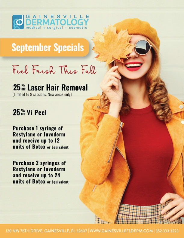 Dermatology Specials for September 2020 in Gainesville