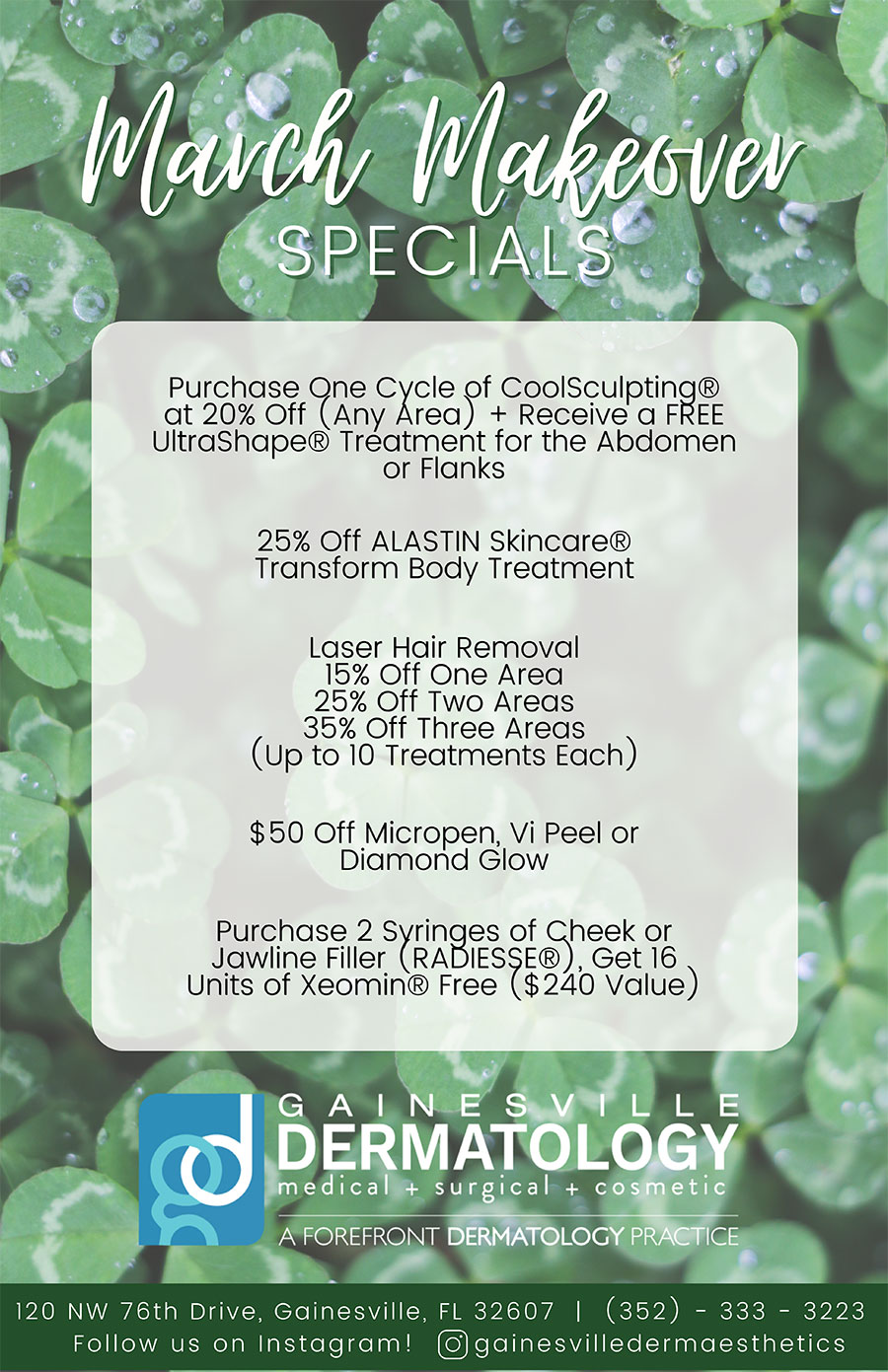 Dermatology Specials for March 2021 in Gainesville
