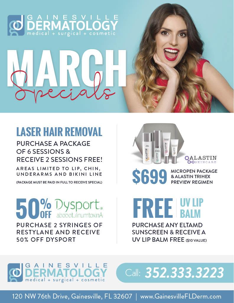 March Dermatology Specials in Gainesville